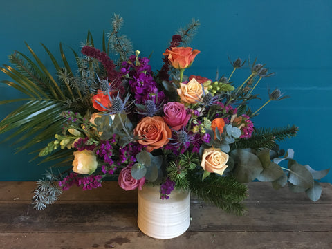 New arrangement from Gorgeous and Green: The Pickle Jar of local grown and a little wild blooms