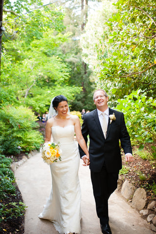 The Bride and Groom making their way down the aisle after the ceremony at Mill Valley Outdoor Art Club