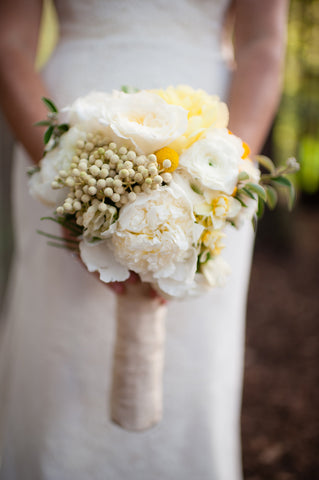 Bridal Bouquet in spring yellows and whites by Gorgeous and Green