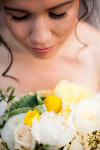 A closeup of the Bride and her bouquet by Gorgeous and Green, Mill Valley Outdoor Art Club