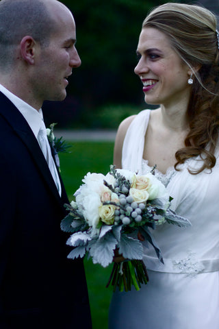 wedding couple at Brazilian Room, florals by Gorgeous and Green