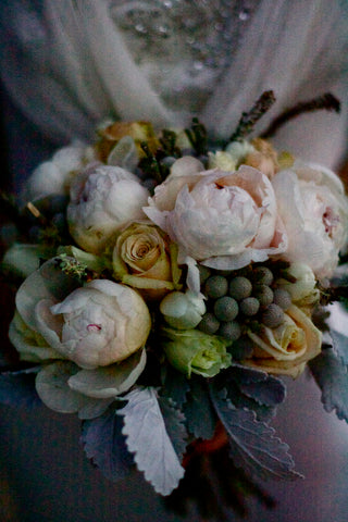 Closeup of the vintage style bridal bouquet by Gorgeous and Green