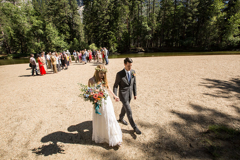 Wedding ceremony in Yosemite National Park, florals by Gorgeous and Green