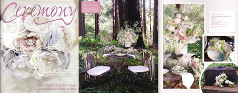 Ceremony Magazine featuring wedding floral designs from Gorgeous and Green