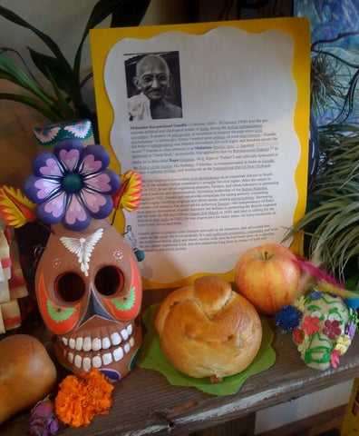 Sugar skull art sweet breads and biographies of people of importance who have passed