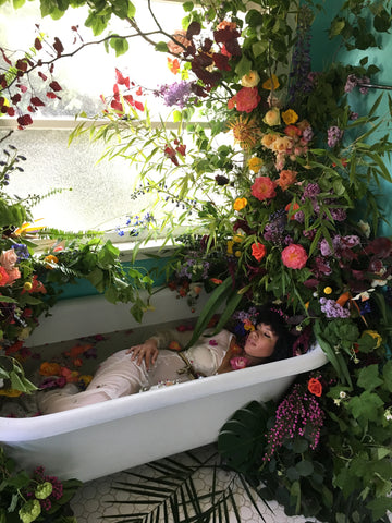 Floral installation, Amazonian forest bath time