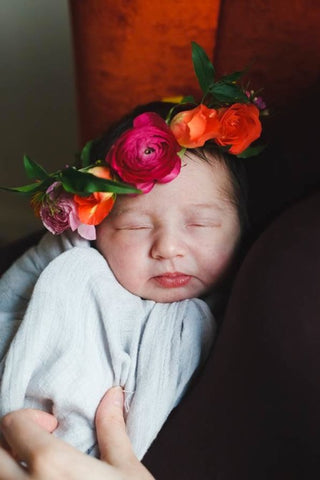 Tiny ranunculus and rose baby crown for a newborn by Gorgeous and Green