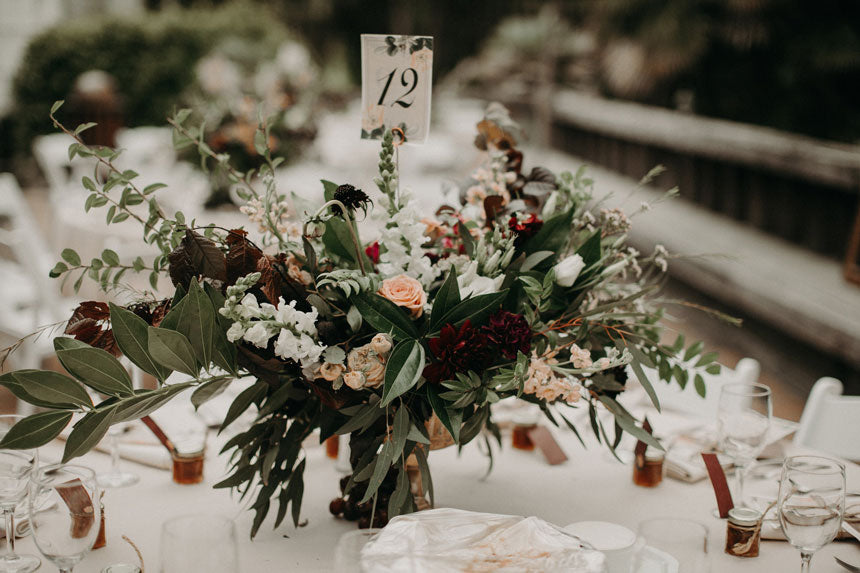 A closeup of the natural and romantic florals by G&G. Photo by From the Daisies.