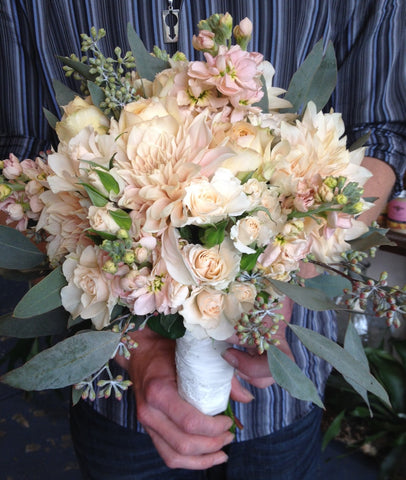 blush bridal bouquet with local grown goodness by Gorgeous and Green