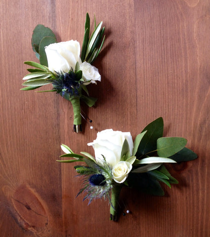 olive, thistle and white rose boutonnieres by Gorgeous and Green
