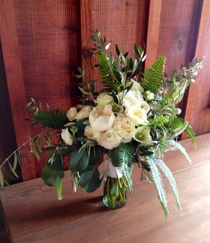avante garde bridal bouquet with white david austen roses by Gorgeous and Green