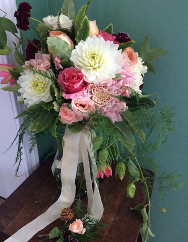 Bridal bouquet and boutonniere in softer shades by Gorgeous and Green