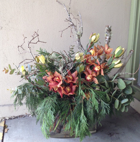 rustic bronze arrangement by Gorgeous and Green for a local business office in Berkeley