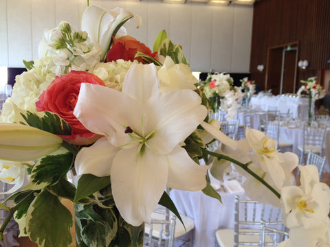 trumpet style vases with tall centerpieces for a Cal Wedding by Gorgeous and Green