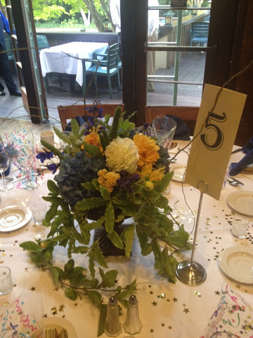 Overgrown Pedestal Table centerpiece for reunion at UC Berkeley Faculty Club by Gorgeous and Green