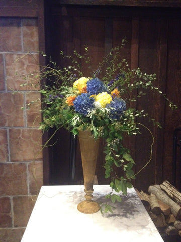 Tall Pedestal Arrangement for reunion at UC Berkeley Faculty Club by Gorgeous and Green