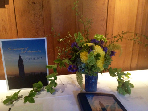 Overgrown Sign In Table arrangement for reunion at UC Berkeley Faculty Club by Gorgeous and Green