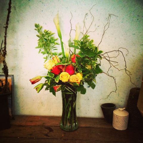Calla and Tulip arrangement for delivery in Berkeley by Gorgeous and Green