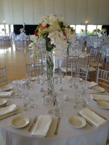 trumpet vase centerpieces at Cal by Gorgeous and Green