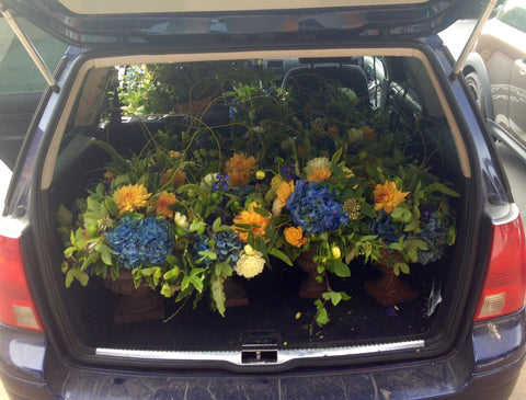 arrangements in the back of the Gorgeous and Green Biodiesel Wagon
