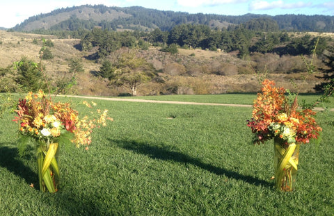 Large arrangements for the Ceremony space at Costanoa by Gorgeous and Green