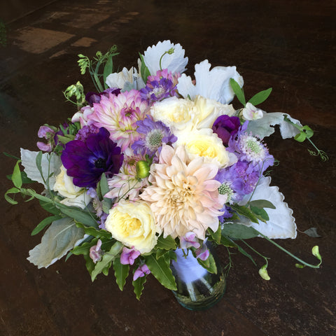 Bridal Bouquet with cafe au lait dahlias, anemones, david austen roses for SF City Hall Wedding by Gorgeous and Green