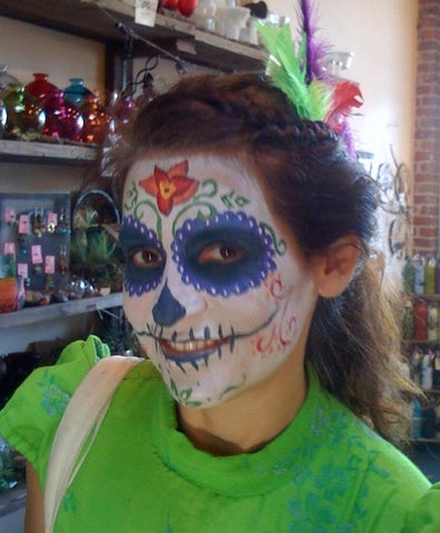 Day of the Dead face painting my me at Gorgeous and Green