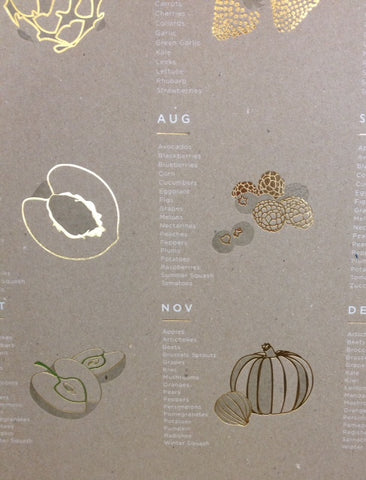 Young America Creative gold foil seasonal calendars sold by Gorgeous and Green