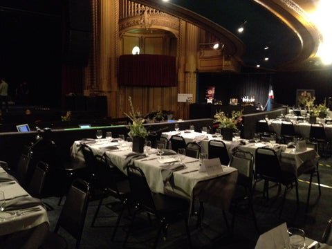 Rows and Rows of tables for Gaffta Event at the Warfield by Gorgeous and Green