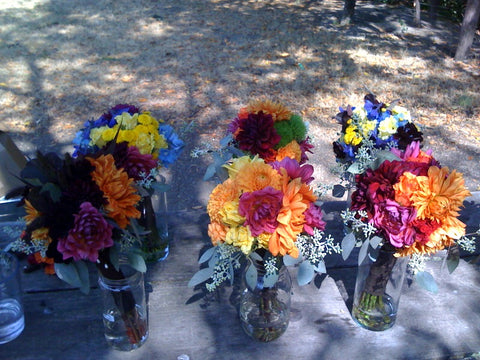 Various bridesmaid bouquets for a local East Bay Wedding by Gorgeous and Green