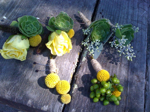 crespedia boutonnieres and corsages by Gorgeous and Green