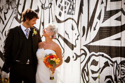 The Fun couple who had their wedding at Flora Grubb, florals by Gorgeous and Green