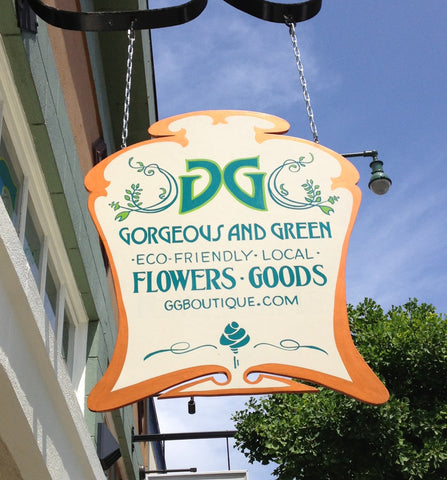 The Gorgeous and Green boutique sign, handpainted