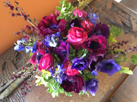 anemones, ranunculus, foliage for a bridal shower in jewel tones by Gorgeous and Green