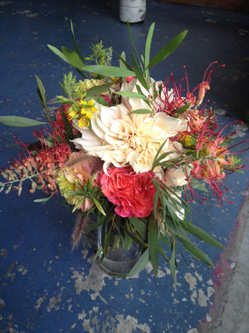 grevillia bouquet by Gorgeous and Green