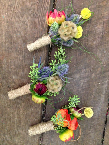 Jewel tone summer wedding boutonnieres by Gorgeous and Green