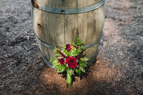 The Mossy and crimson Bridal Bouquet by Gorgeous and Green