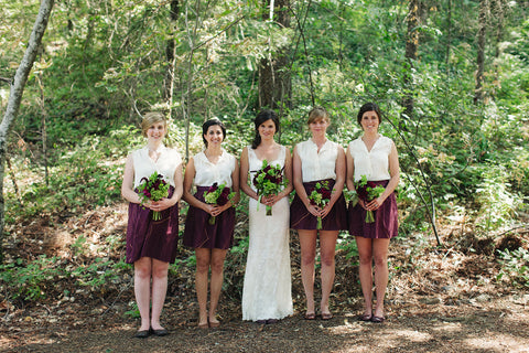 The Bride and her bridesmaids, wedding flowers by Gorgeous and Green
