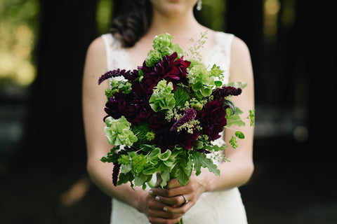 bridal bouquet for a mossy crimson wedding by Gorgeous and Green