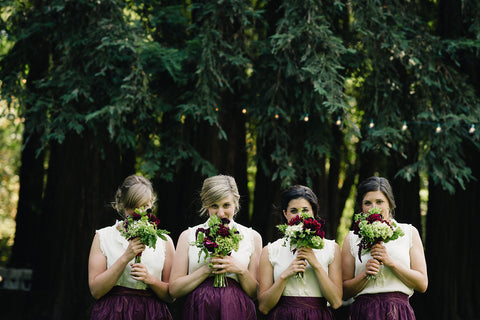 bridesmaids and their bouquets for a wedding in Calistoga by Gorgeous and Green