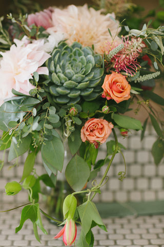 Closeup of the Bridal bouquet with succulents by Gorgeous and Green