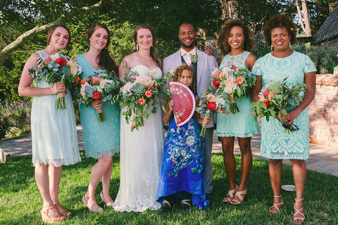 The wedding party with fresh florals by Gorgeous and Green