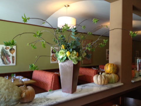 large restaurant dining room arrangement by Gorgeous and Green