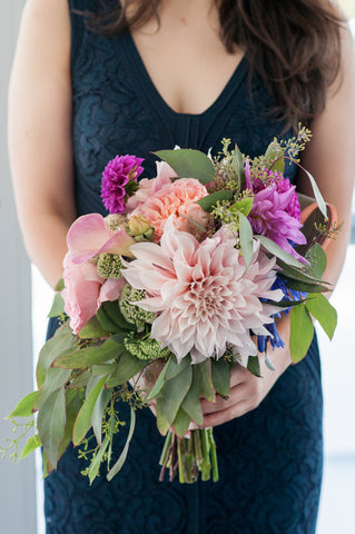 bridesmaid bouquet by Gorgeous and Green for a wedding at Memorial Stadium UC Berkeley