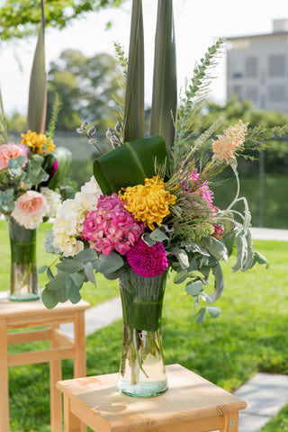 centerpieces for the modern and yet garden feel of a wedding at Memorial Stadium by Gorgeous and Green