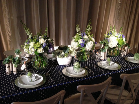 Nautical themed centerpiece and table design by Gorgeous and Green and Napa Linens