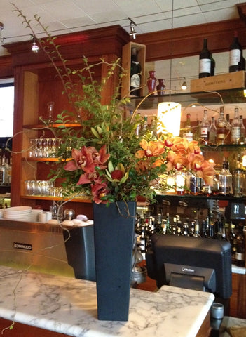 tall long lasting arrangement for restaurant in Berkeley by Gorgeous and Green