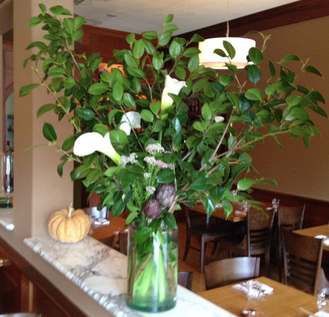 Large dining room arrangement for local restaurant in Berkeley by Gorgeous and Green