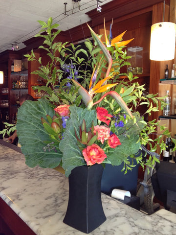 cabbage leaves and tropical flowers by Gorgeous and Green for a local restaurant