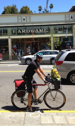 Pedal Express Bike courier delivering Gorgeous and Green arrangements to Berkeley, Oakland and Emeryville